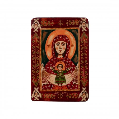 "Wood icon, ""The Virgin Mary and Baby Jesus"", miniature, 7x10cm"