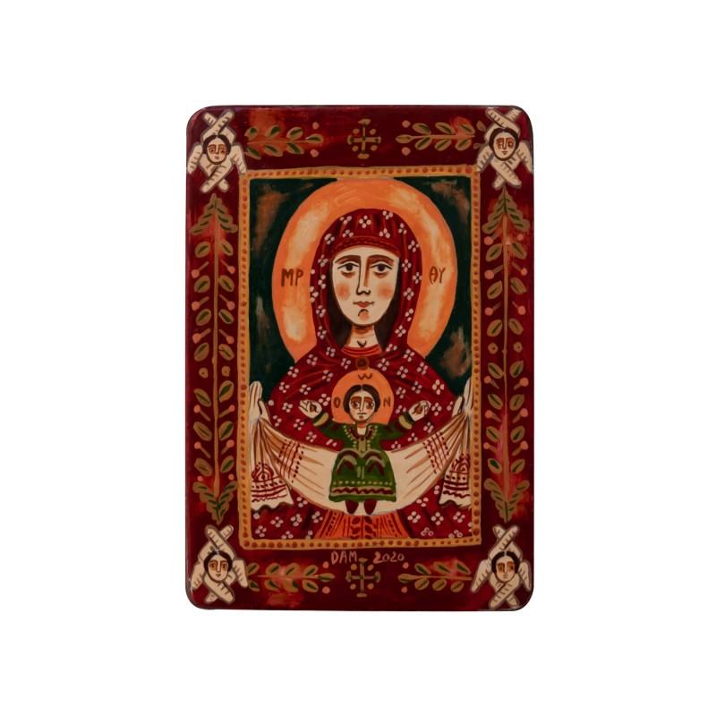 """Icoană pe lemn """"Maica Domnului cu Pruncul"""", miniatură, 7x10 cm"""
