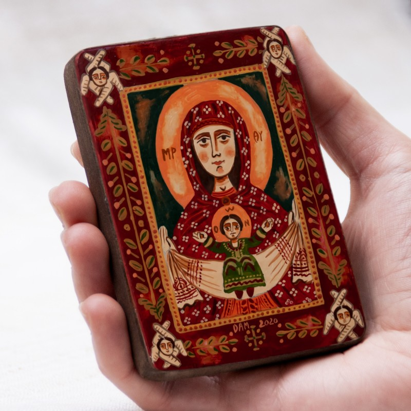 """Wood icon, """"The Virgin Mary and Baby Jesus"""", miniature, 7x10cm"""