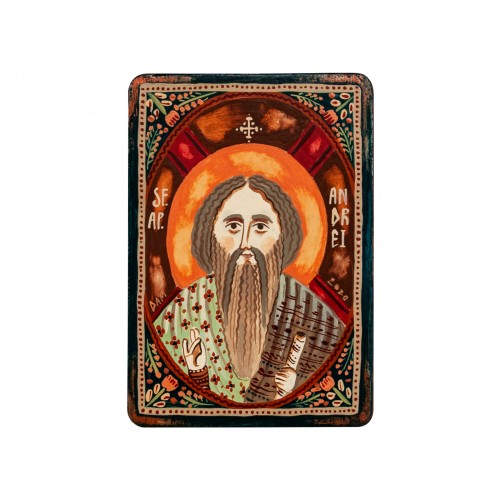"Wood icon, ""Saint Andrew the Apostle"", miniature, 7x10cm"