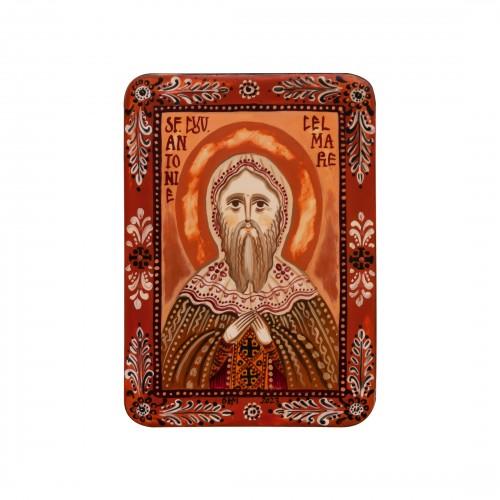 """Icoană pe lemn """"Sfântul Antonie cel Mare"""", miniatură, 7x10 cm"""