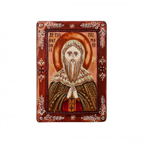 "Wood icon, ""Saint Anthony the Great"", miniature, 7x10cm"