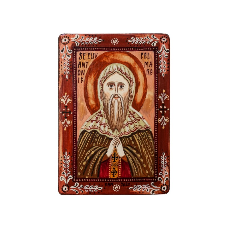 """Wood icon, """"Saint Anthony the Great"""", miniature, 7x10cm"""
