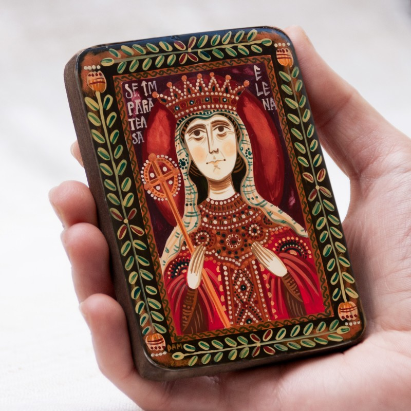 "Wood icon, ""Saint Helen the Empress"", miniature, 7x10cm"