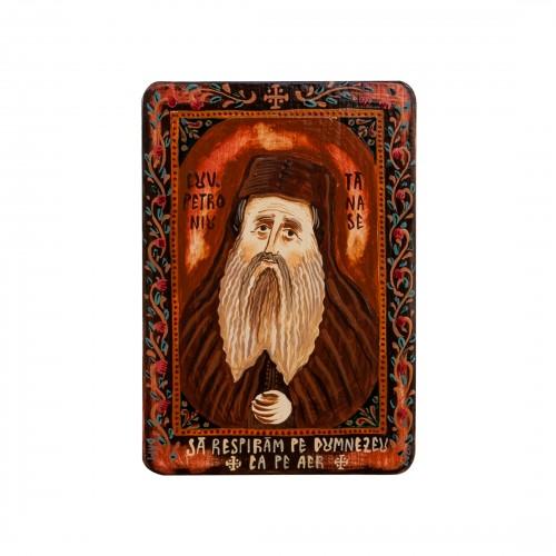 """Icoană pe lemn """"Cuviosul Petroniu Tănase"""", miniatură, 7x10 cm"""