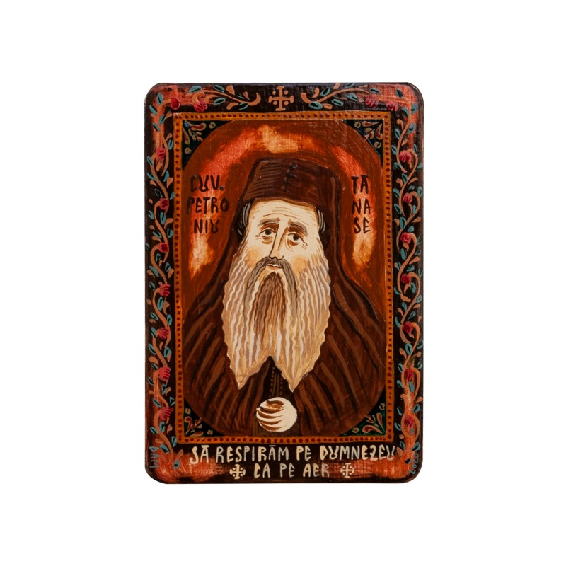 "Wood icon, ""Petroniu Tănase"", miniature, 7x10cm"