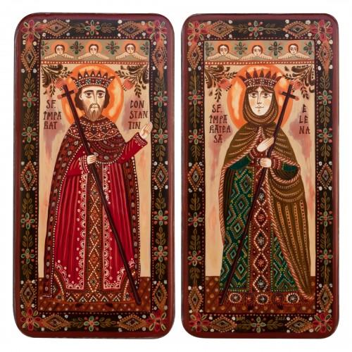 """Icoană pe lemn tip diptic """"Sf. Constantin și Elena"""", 2 x 10x20cm"""
