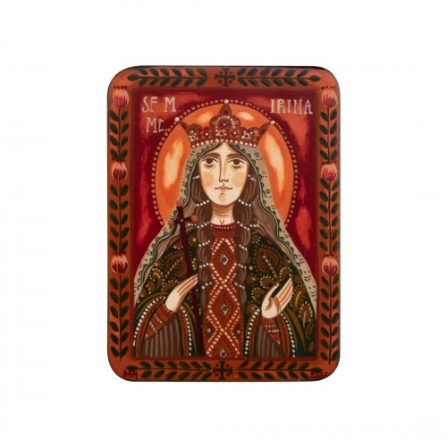 "Wood icon, ""Saint Irene of Thessaloniki"", miniature, 7x10cm"