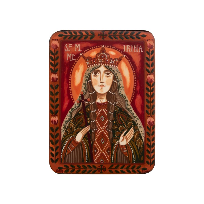 """Icoană pe lemn """"Sf. Irina din Maghedon"""", miniatură, 7x10 cm"""