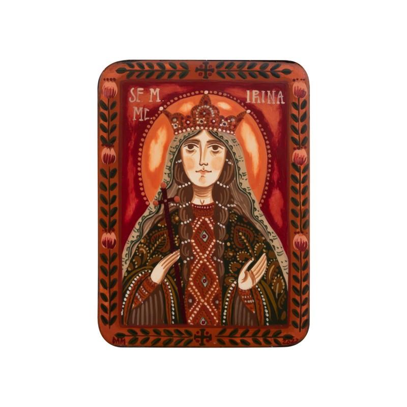 """Wood icon, """"Saint Irene of Thessaloniki"""", miniature, 7x10cm"""