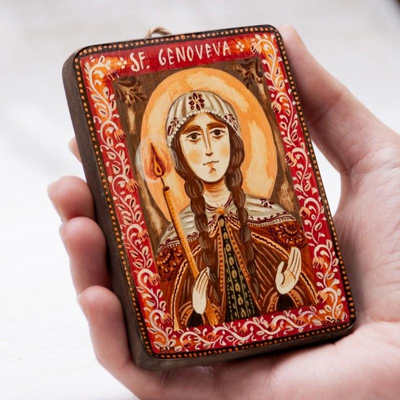 """Icoană pe lemn """"Sf. Genoveva de la Paris"""", miniatură, 7x10 cm"""