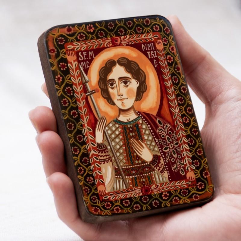 """Icoană pe lemn """"Sf. Dimitrie Izvorâtorul de Mir"""", miniatură, 7x10 cm"""