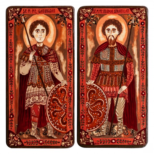 "Wood icon, diptych, ""St. George and Theodore the Stratelates"", 2 x 10x20 cm (N)"