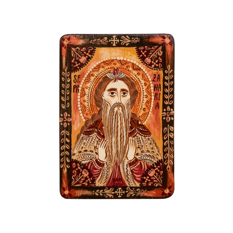"Wood icon, ""Saint Zachariah"", miniature, 7x10cm"