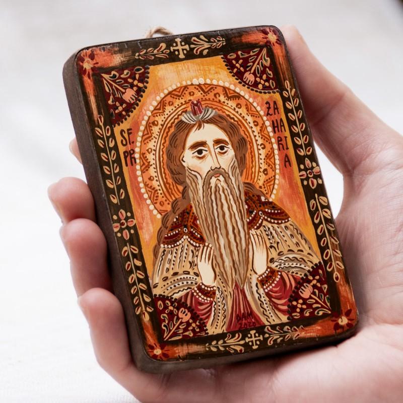 """Icoană pe lemn """"Sfântul Zaharia"""", miniatură, 7x10 cm"""