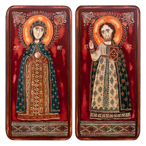 "Wood icon, diptych, ""Jesus Christ and Virgin Mary"", 2 x 10x20 cm"