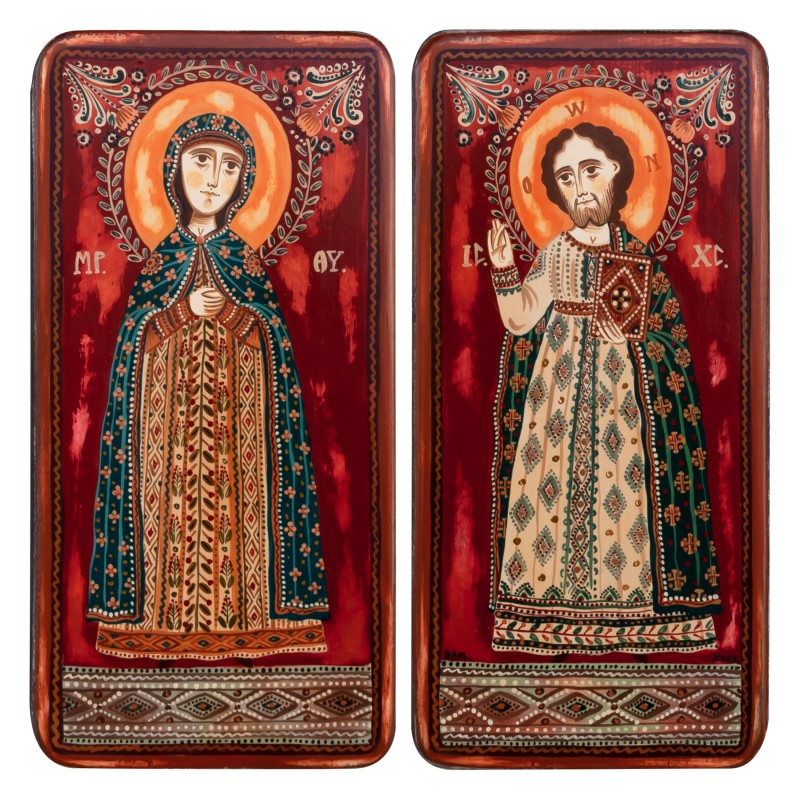 """Wood icon, diptych, """"Jesus Christ and Virgin Mary"""", 2 x 10x20 cm"""