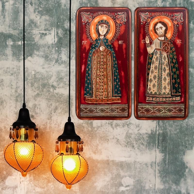 """Icoană pe lemn tip diptic """"Iisus Hristos și Maica Domnului"""", 2 x 10x20cm"""
