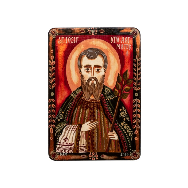 "Wood icon, ""Saint Joseph of Arimathea"", miniature, 7x10cm"