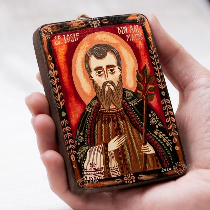 """Icoană pe lemn """"Sfântul Iosif din Arimateea"""", miniatură, 7x10 cm"""