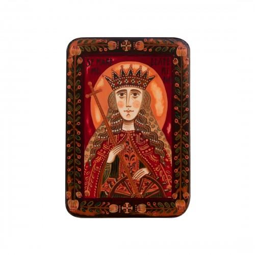 """Icoană pe lemn """"Sfânta Ecaterina de Alexandria"""", miniatură, 7x10 cm"""