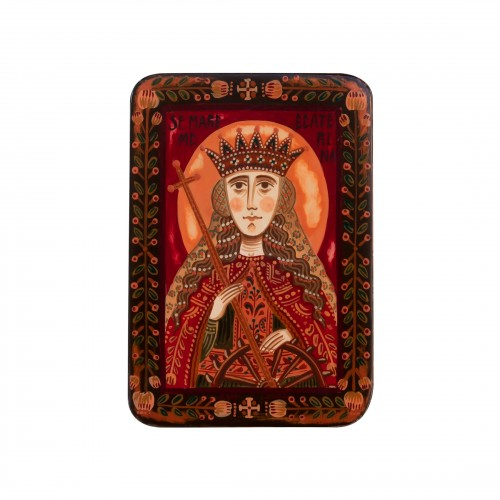 "Wood icon, ""Saint Catherine of Alexandria"", miniature, 7x10cm"