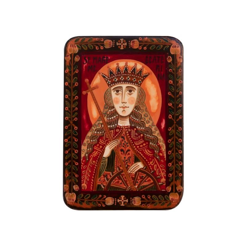 "Wood icon, ""Saint Catherine of Alexandria"", miniature, 7x10cm"