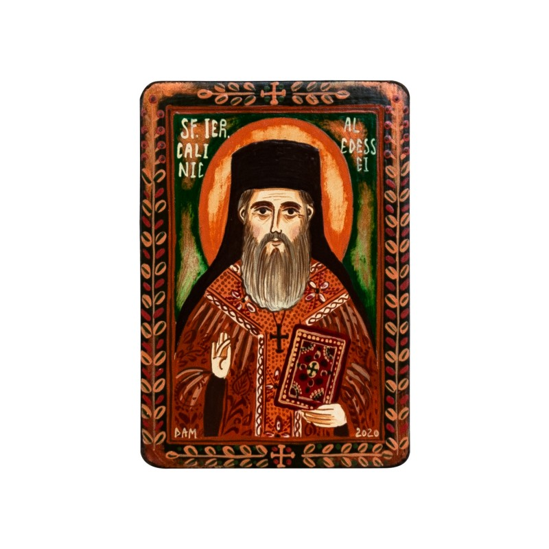 "Wood icon, ""Saint Calinic of Edessa"", miniature, 7x10cm"