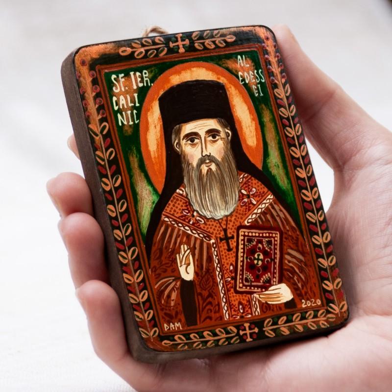 """Icoană pe lemn """"Sfântul Calinic al Edessei"""", miniatură, 7x10 cm"""