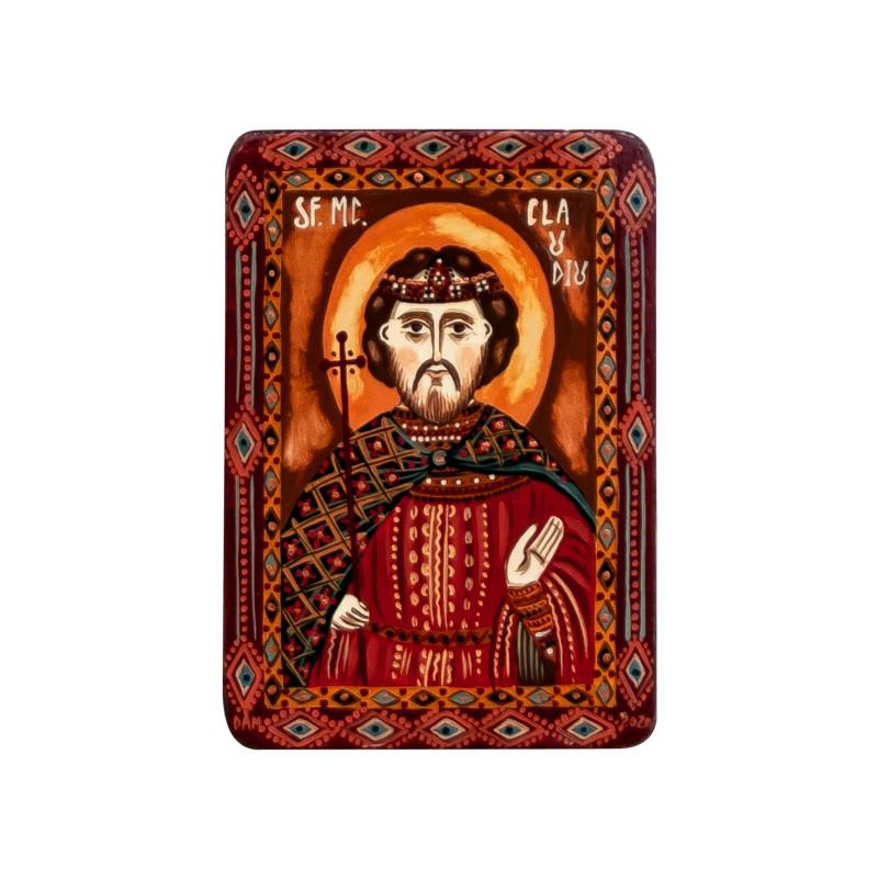 """Wood icon, """"Saint Claudius"""", miniature, 7x10cm"""