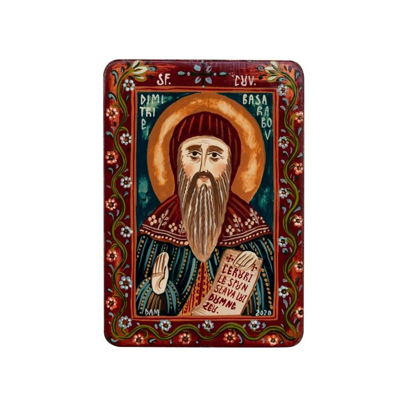 """Icoană pe lemn """"Sfântul Dimitrie Basarabov"""", miniatură, 7x10 cm"""