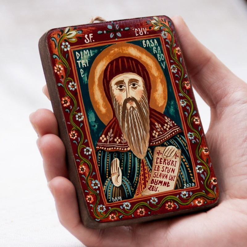 "Wood icon, ""St. Demetrius of Basarabov"", miniature, 7x10cm"