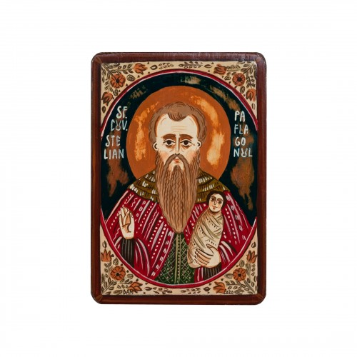 "Wood icon, ""St. Stylianos of Paphlagonia"", miniature, 7x10cm"