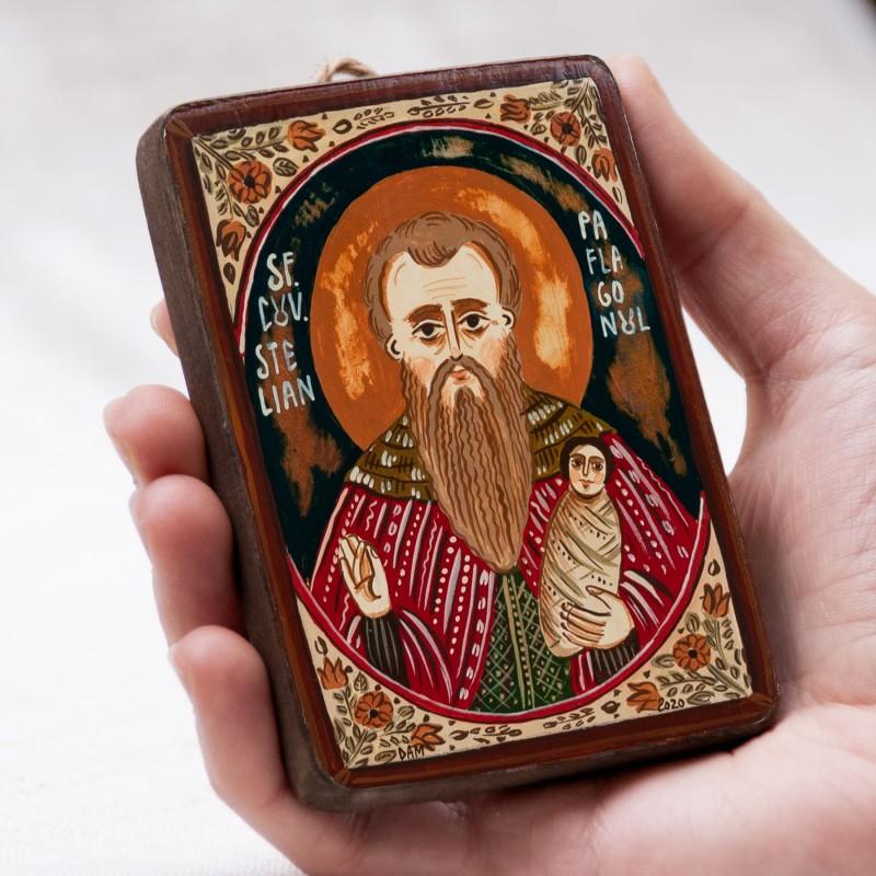 """Icoană pe lemn """"Sfântul Stelian Paflagonul"""", miniatură, 7x10 cm"""