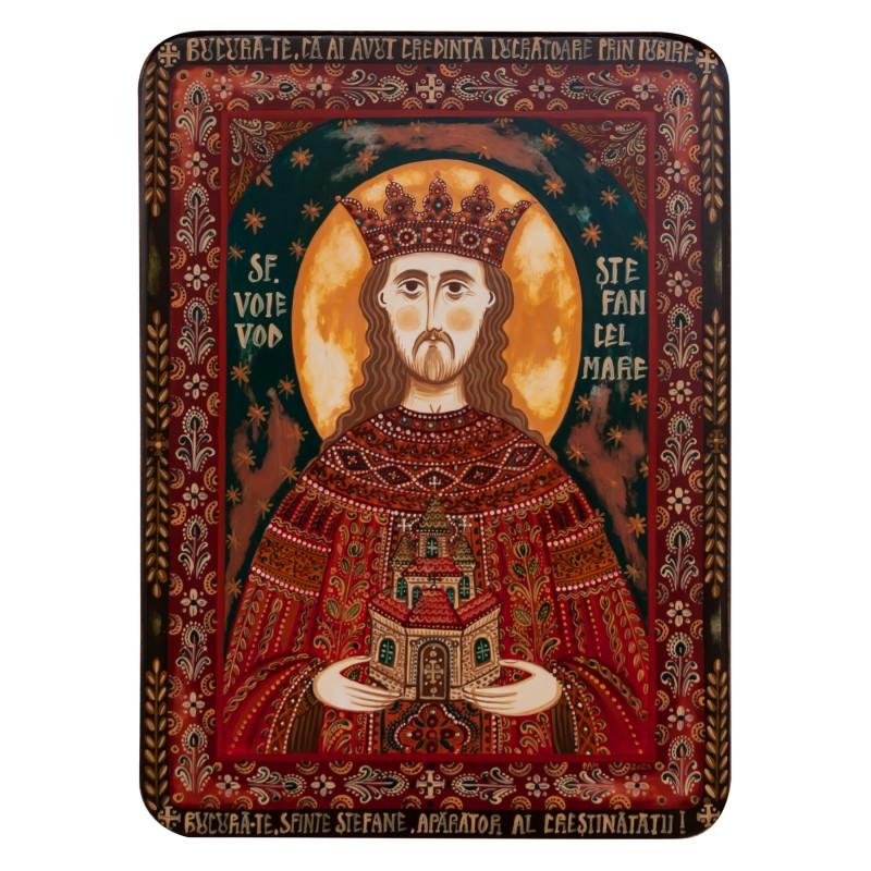 """Icoană pe lemn """"Ștefan cel Mare și Sfânt"""""""