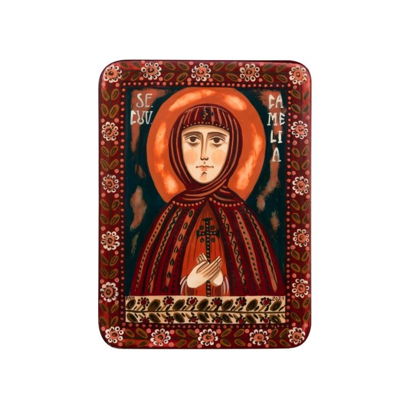 """Icoană pe lemn """"Sfânta Cuvioasă Camelia"""", miniatură, 7x10 cm"""