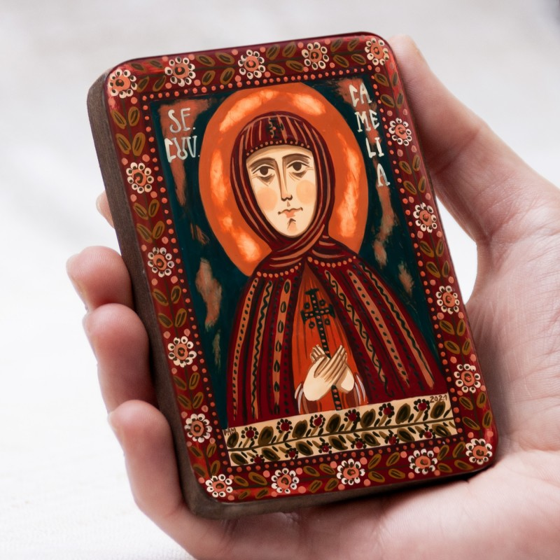 "Wood icon, ""Saint Camilla"", miniature, 7x10cm"