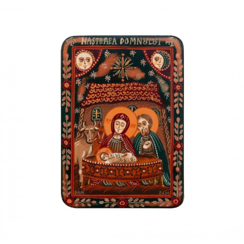 "Wood icon, ""The Nativity of Christ"", miniature, 7x10cm"