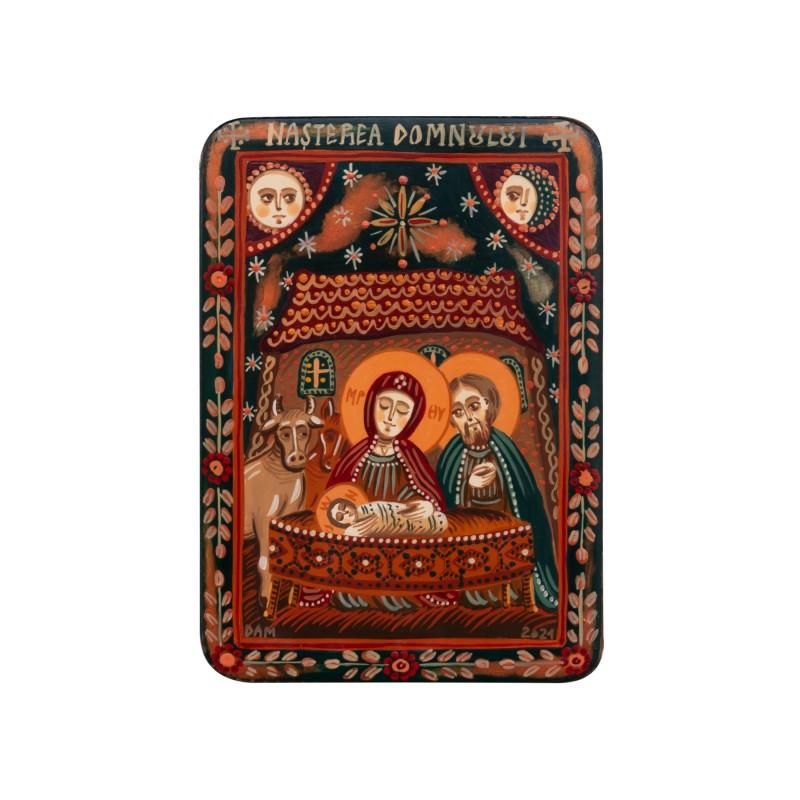 """Icoană pe lemn """"Nașterea Domnului"""", miniatură, 7x10 cm"""