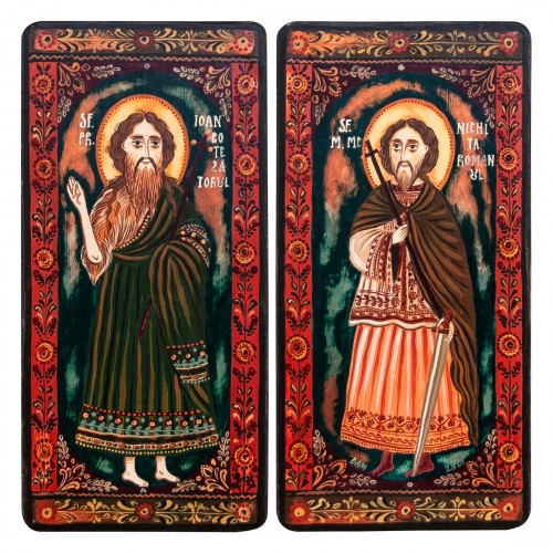 "Wood icon, diptych, ""St. John the Forerunner and Nicetas of Remesiana"", 2 x 10x20 cm (N)"